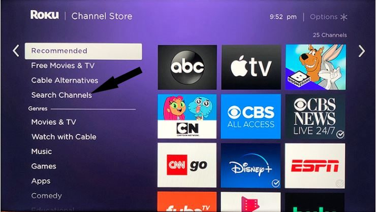 britbox on roku search channels